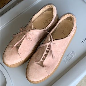 COS genuine soft suede shoes in dusty rose